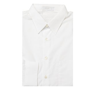 Prada Men's Point Collar Cotton Tuxedo Dress Shirt White