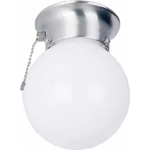 Volume Lighting V7308 1-Light Flush Mount Ceiling Fixture with White Opal Glass Globe Shade - N/A