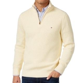 Tommy Hilfiger NEW Beige Mens Size Large L Harrington 1/2 Zip Sweater