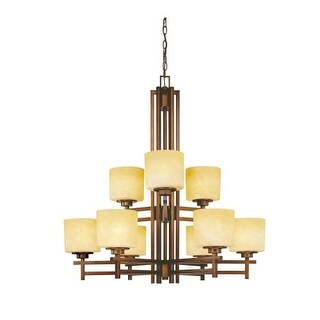 Dolan Designs 2812 Nine Light Two Tier Chandelier from the Roxbury Collection - Gold