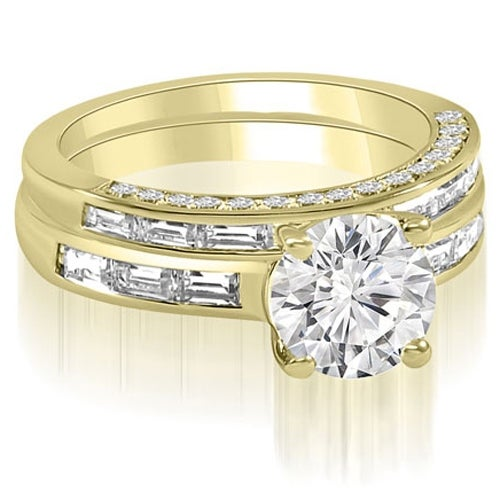 2.13 cttw. 14K Yellow Gold Round And Baguette Cut Diamond Bridal Set