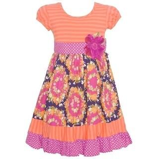 Bonnie Jean Little Girls Coral Stripe Floral Garland Print Casual Dress