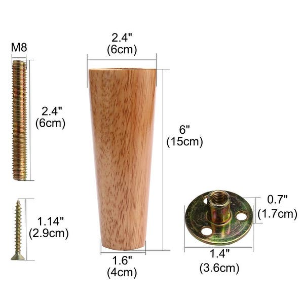 Set of 4 Pre-Installed Hardware for Easy Installation Replacement Feet Free Shipping Furniture Legs Solid Wood in Cherry Finish