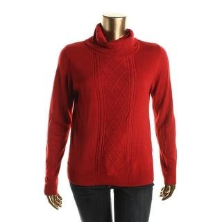 Karen Scott Womens Textured Long Sleeves Turtleneck Sweater