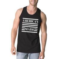 American Made Mens Black Sleeveless Shirt Unique Design Tank Top