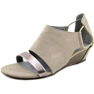 Matisse Port Women Open Toe Leather Gray Wedge Sandal