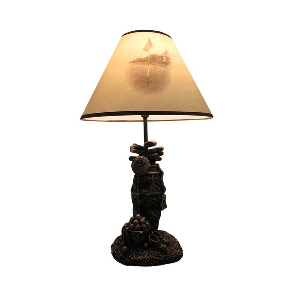 Golf Lovers Tee Light Golf Bag Table Lamp w/Decorative Shade - 20 X 8 X 7 inches