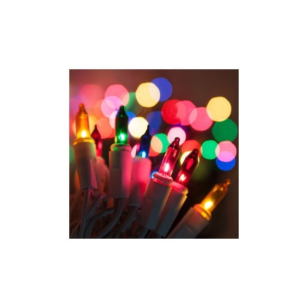 """Wintergreen Lighting 17515 13.3' Long Indoor Standard 35 Mini Light Holiday Light Strand with 4"""" Spacing and White Wire"""