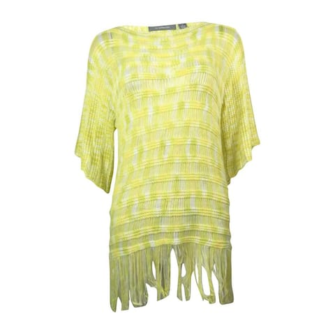 NY Collection Women's Fringe Hem Poncho Sweater