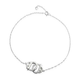 Bling Jewelry 925 Silver CZ Handcuff Anklet Obsession Secret Shades 9in