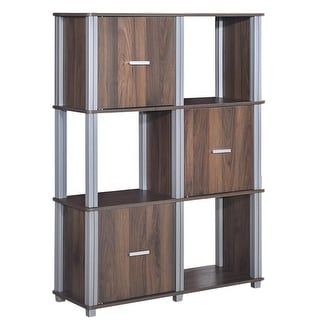 3 Tiers 6 Cubes Storage Cabinet Shelf  Bookcase With 3 Doors-Walnut