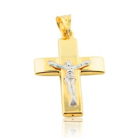 10K Yellow Gold Cross Charm Crucifix 33mm Tall Two Tone