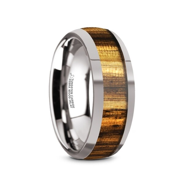 TIGRE Tungsten Carbide Polished Finish Men's Domed Wedding Band with Zebra Wood Inlay