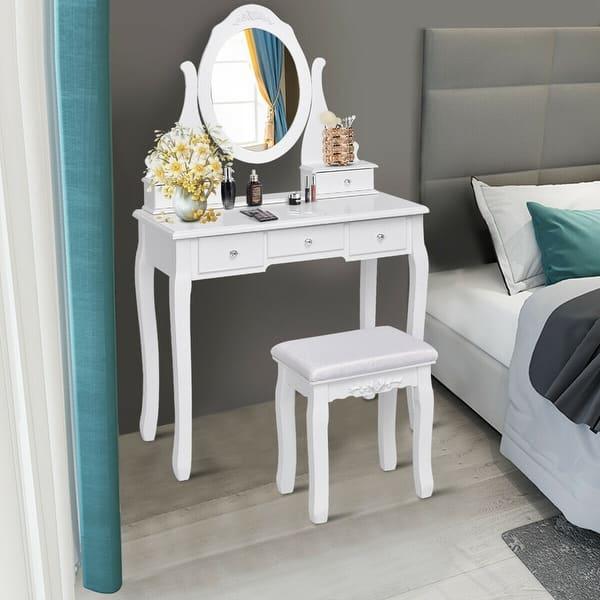 Shop Gymax Bedroom Wooden Mirrored Makeup Vanity Set Stool ...