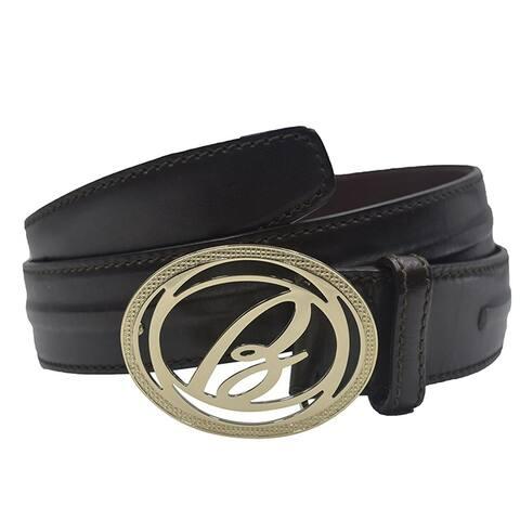 Brioni Mens Dark Brown Gold Buckle Belt Size 90
