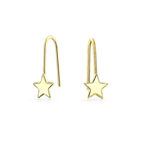 Celestial Patriotic Rock Star Threader Earrings Real 14K Yellow Gold