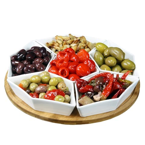Elama Pantry Basics12in 7pc Lazy Susan Appetizer and Condiment Server