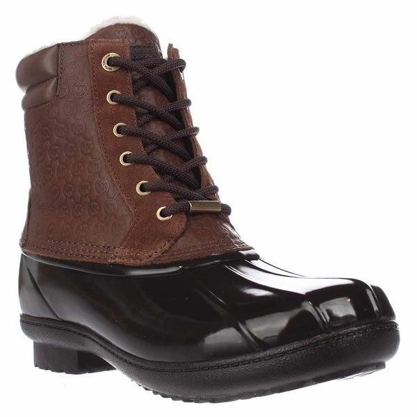 MICHAEL Michael Kors Easton Bootie Short Logo Rainboots, Dark Caramel