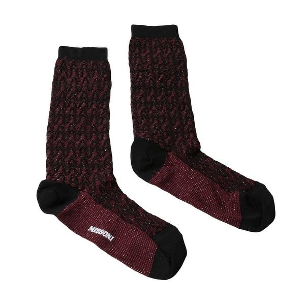Missoni GM00CMD5227 0003 Burgundy/Black Chevron Boot Socks - M