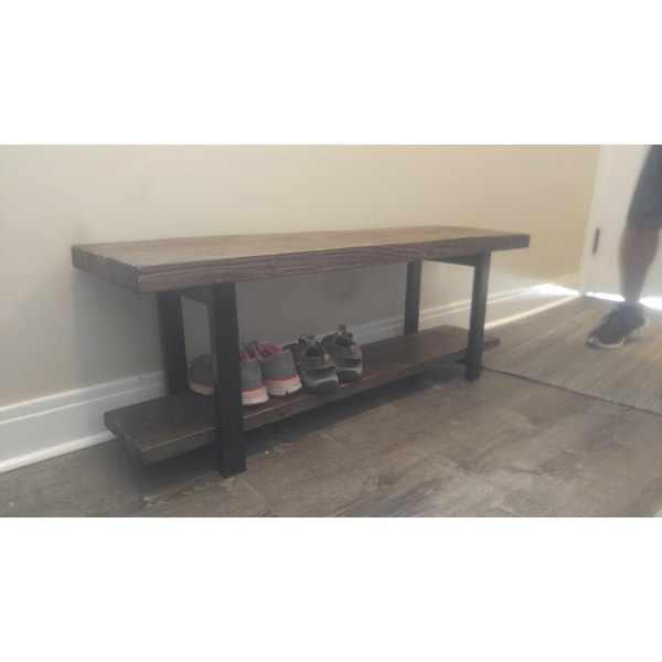 alaterre pomona metal and reclaimed wood bench with shelf free shipping today