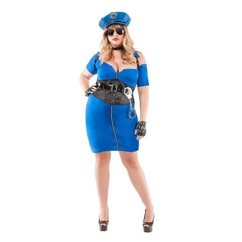 Plus Size Cuff Me Cop Costume - Blue