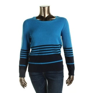 Tommy Hilfiger Womens Knit Striped Pullover Sweater