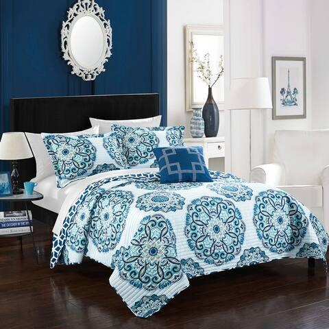 Chic Home 8-Piece Miranda Blue Quilt Set
