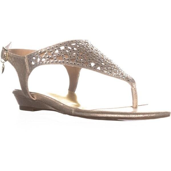 TS35 Ilyssa Ankle Strap Flat Sandals, Champagne