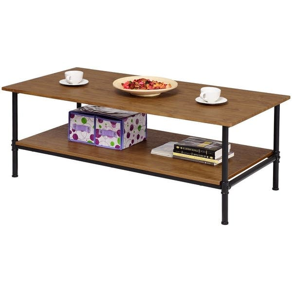 Simple Metal Wood Coffee Table With Bottom Storage Shelf Pictured Overstock 29063589