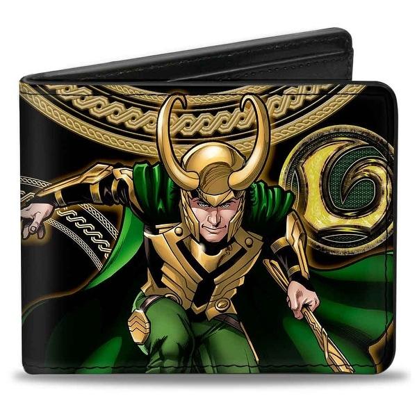 Marvel Universe Loki Poses Black Gold Green Bi Fold Wallet - One Size Fits most
