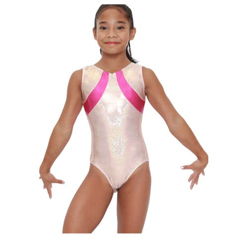 VEVA by Very Vary Womens Rose Gold Pink Sol Mystique Gymnastics Fancy Leotard L
