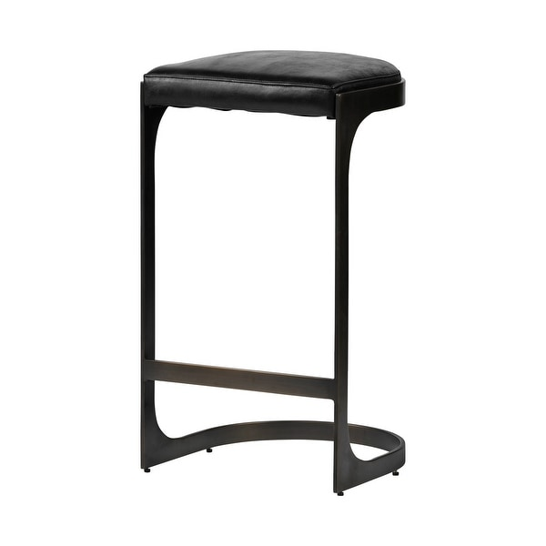 """Mercana Tyson 31"""" Seat Height Black Leather Seat Black Metal Frame Stool. Opens flyout."""