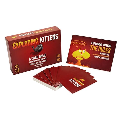 Exploding Kittens Card Game Family-Friendly Party Games - Card Games For Adults, Teens & Kids - Red - Red