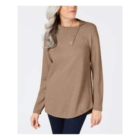 KAREN SCOTT Womens Brown Long Sleeve Jewel Neck Sweater Size XS
