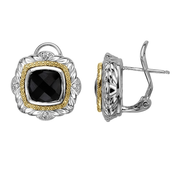 4 3/8 ct Onyx Stud Earrings with Diamonds in Sterling Silver & 14K Gold - Black