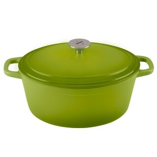 Zelancio 6 Quart Cast Iron Enamel Covered Oval Dutch Oven Cooking Dish with Skillet Lid (Green)