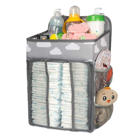 Baby Diaper Bags, Hanging Nursery Organizer Baby Shower Gifts for Infant Newborn Store Diaper, Grey & White Oxford Large
