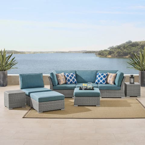 Corvus Fabric Cushions/Grey Wicker 8-piece Patio Conversation Set