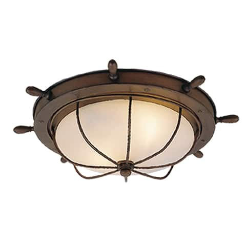 Orleans Copper Coastal Ship Wheel Outdoor Flush Mount Ceiling Light White Glass - 15-in W x 5-in H x 15-in D