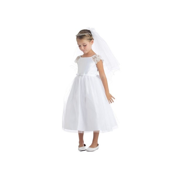 b65f3efe8f Sweet Kids Girls White Satin Lace Pearl Brooch Junior Bridesmaid Dress