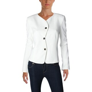 Calvin Klein Womens Three-Button Blazer Scallop Textured