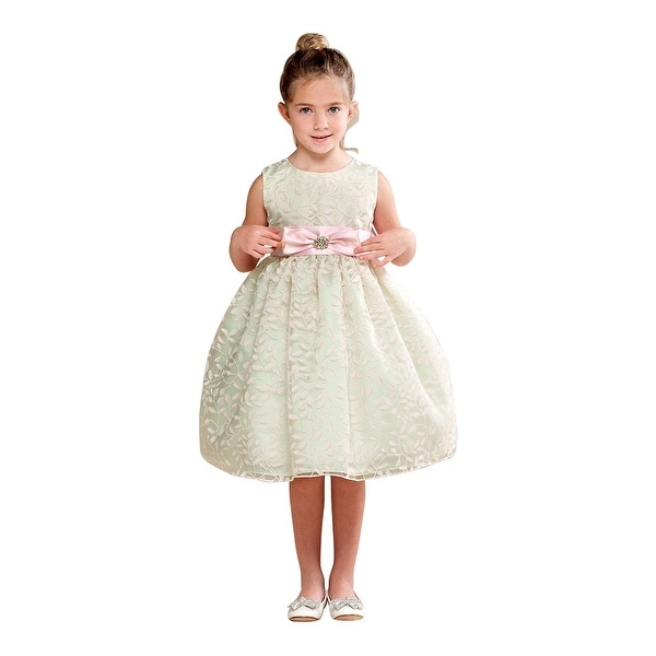 96f52b9e259 Shop Crayon Kids Girls Mint Bow Brooch Accent Flower Girl Dress - Free  Shipping Today - Overstock - 18170869