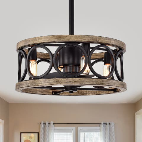 Catrin Wood Grain Ceiling Fan 21-Inch 4-Light Open Metal Drum Shade (Includes Remote)