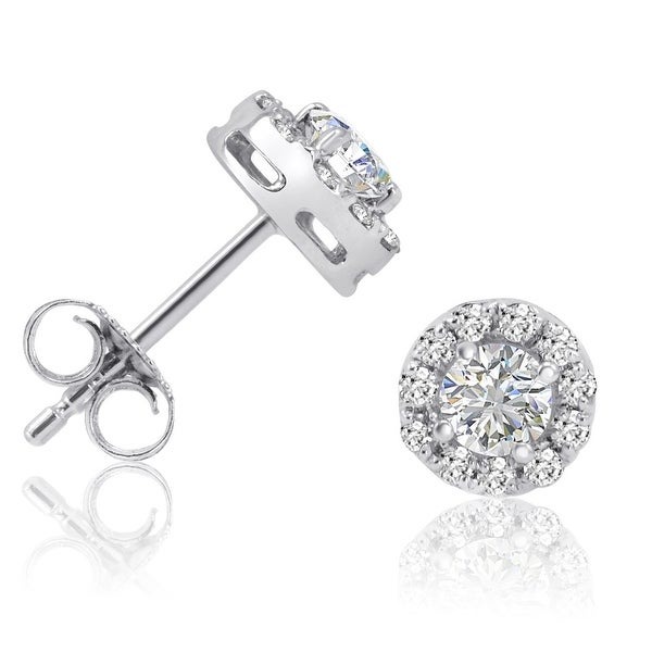 Amanda Rose AGS Certified 3/4ct TW Halo Diamond Stud Earrings in 14K White Gold