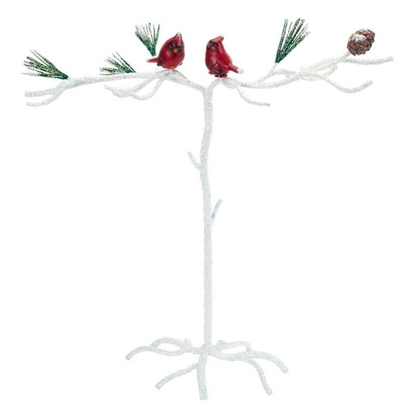"""Pack of 2 Red and White Snowy Cardinal Christmas Ornament Branch Display Table Top Piece 15"""""""