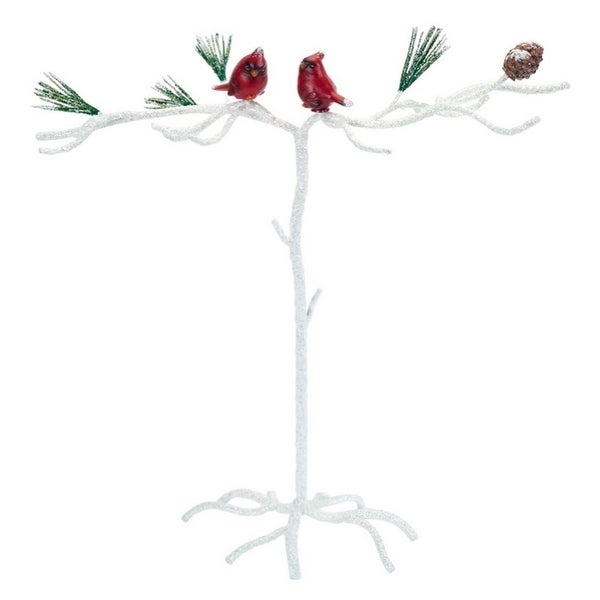 Set of 2 Red and White Snowy Cardinal Christmas Ornament Branch Display Tabletop Pieces 15""