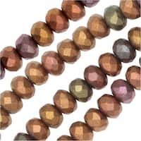Czech Fire Polished Glass, Donut Rondelle Beads 5x3.5mm, 50 Pieces, Violet Rainbow