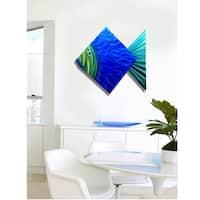 Statements2000 Large Tropical Metal Wall Art Blue Green Accent Decor by Jon Allen - Big Blue Fish