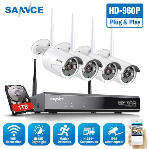 SANNCE 8CH 4PCS 960P WIFI Camera System Outdoor P2P Home WiFi IP Camera Security System Surveillance Kit