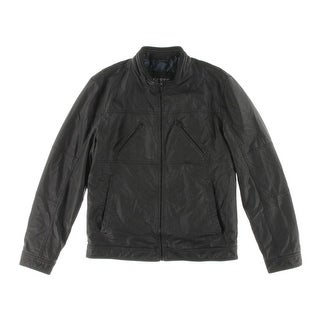 Guess Mens Jacket Faux Leather Seamed